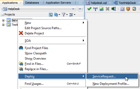 Click Next for a summary Click Finish Deploy the ServiceRequest composite In JDeveloper, open the Applications window Right-click ServiceRequest and