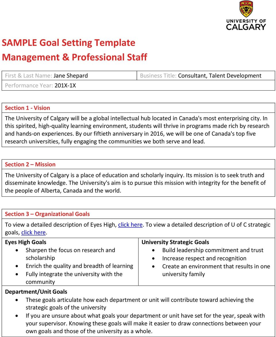 sample goal setting template management professional staff pdf in this spirited high quality learning environment students will thrive in programs made