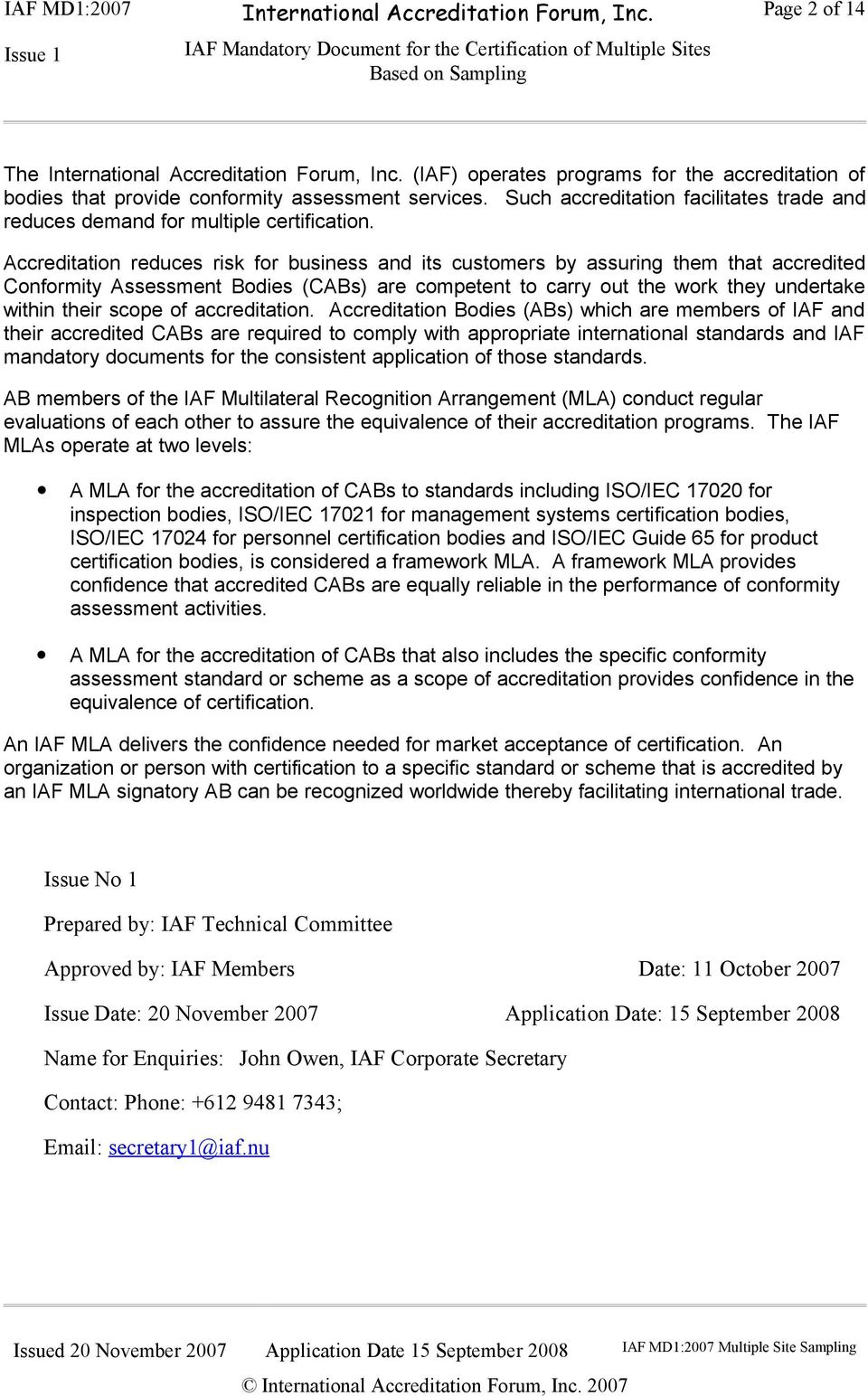 IAF Mandatory Document for the Certification of Multiple ...