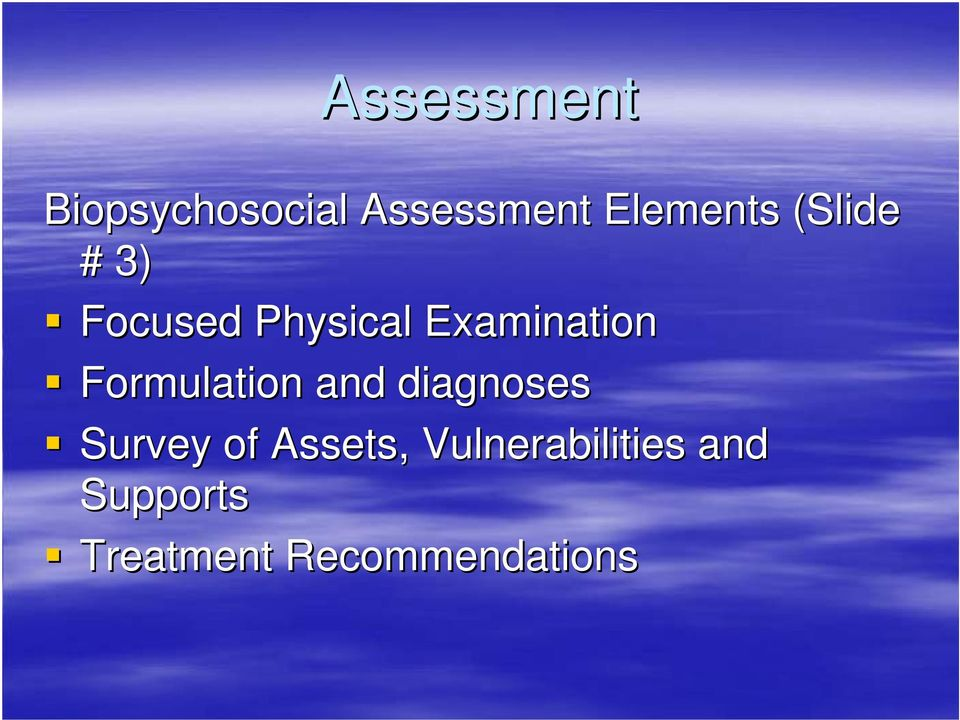 Formulation and diagnoses Survey of Assets,