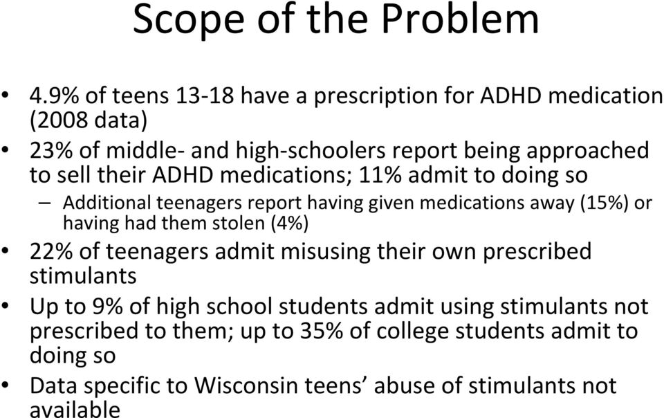their ADHD medications; 11% admit to doing so Additional teenagers report having given medications away (15%) or having had them stolen
