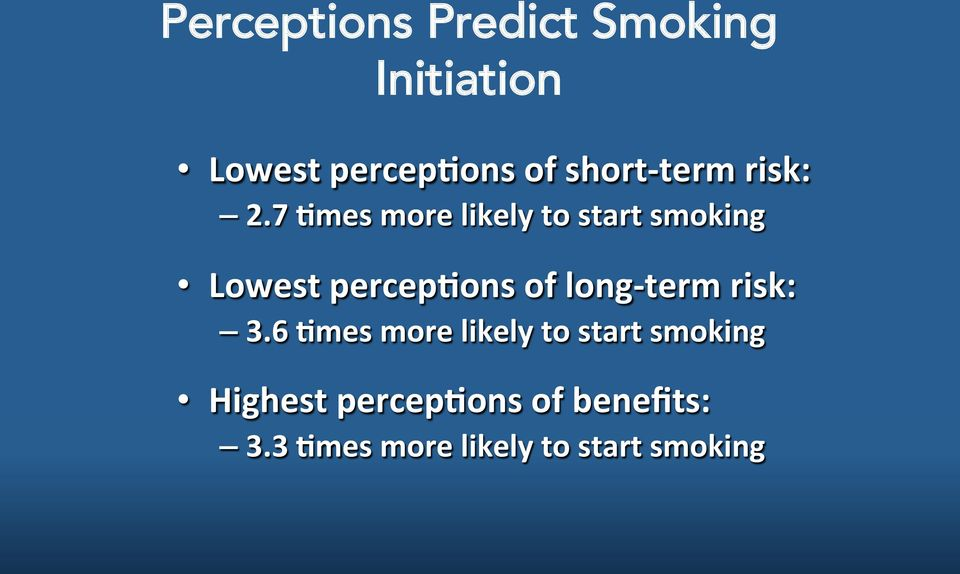 7 5mes more likely to start smoking Lowest percep5ons of long-