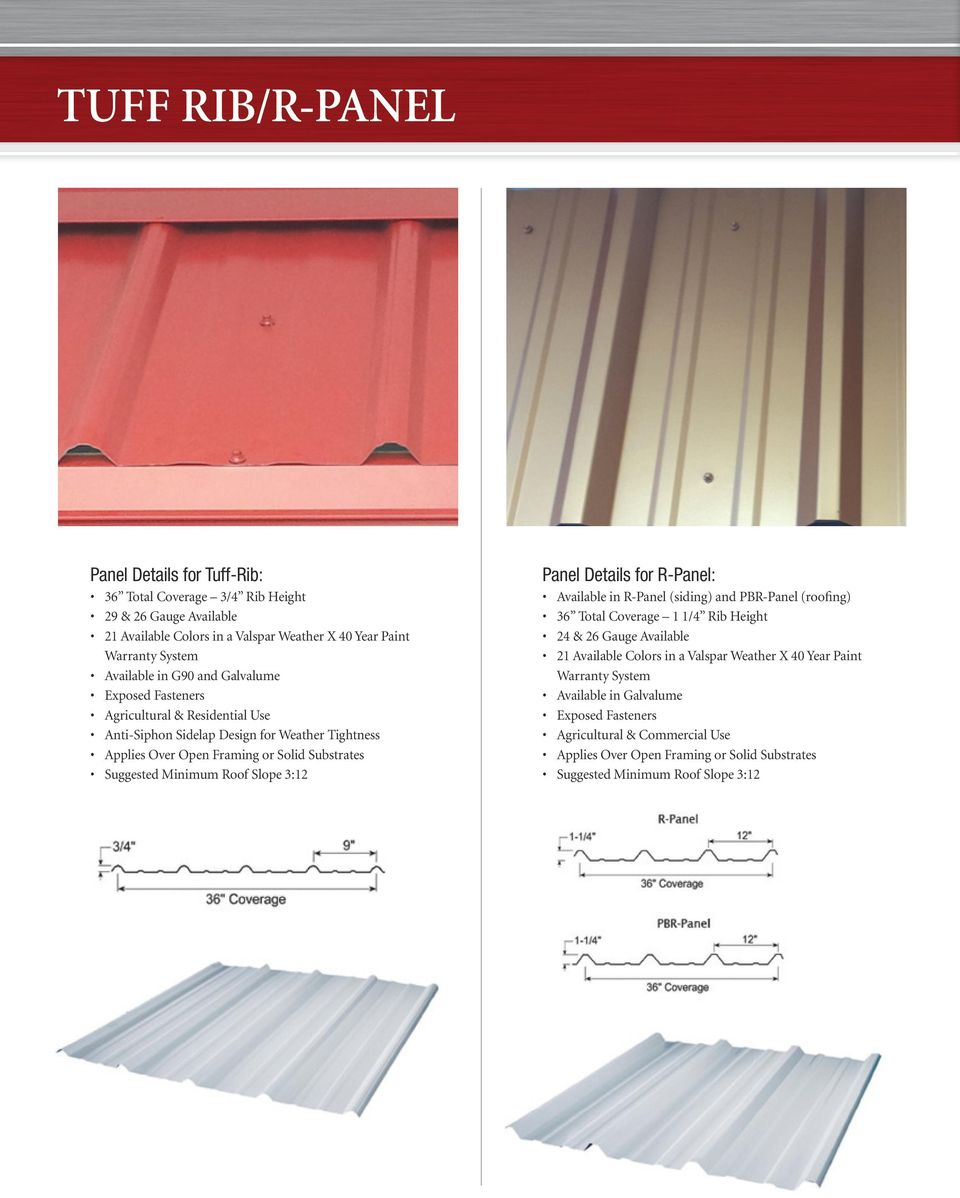 Roof Slope 3:12 Panel Details for R-Panel: Available in R-Panel (siding) and PBR-Panel (roofing) 36 Total Coverage 1 1/4 Rib Height 24 & 26 Gauge Available 21 Available Colors in a