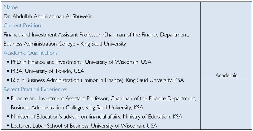 Investment, University of Wisconsin, USA MBA, University of Toledo, USA BSc in Business Administration ( minor in Finance), King Saud University, KSA Finance
