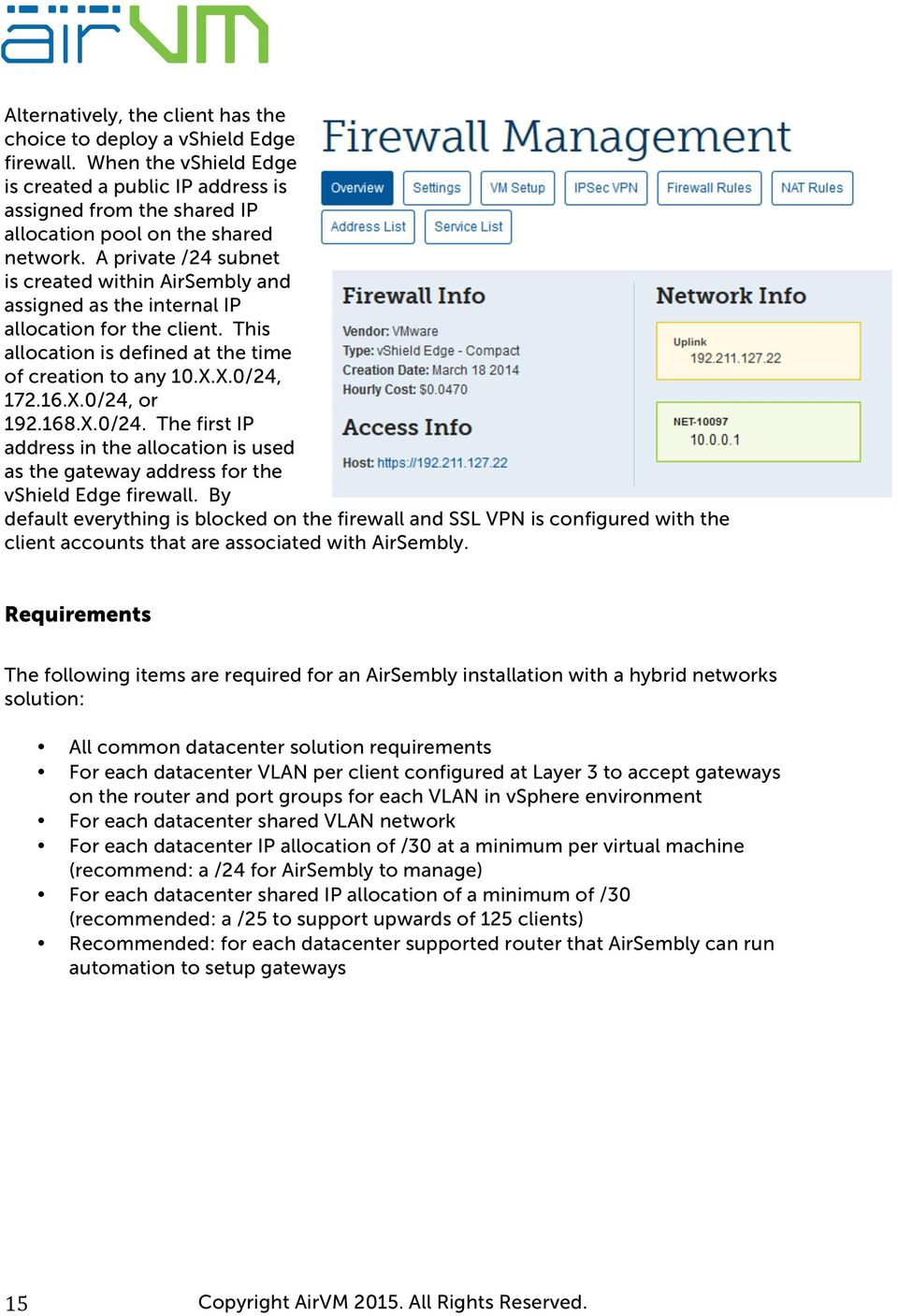 168.X.0/24. The first IP address in the allocation is used as the gateway address for the vshield Edge firewall.