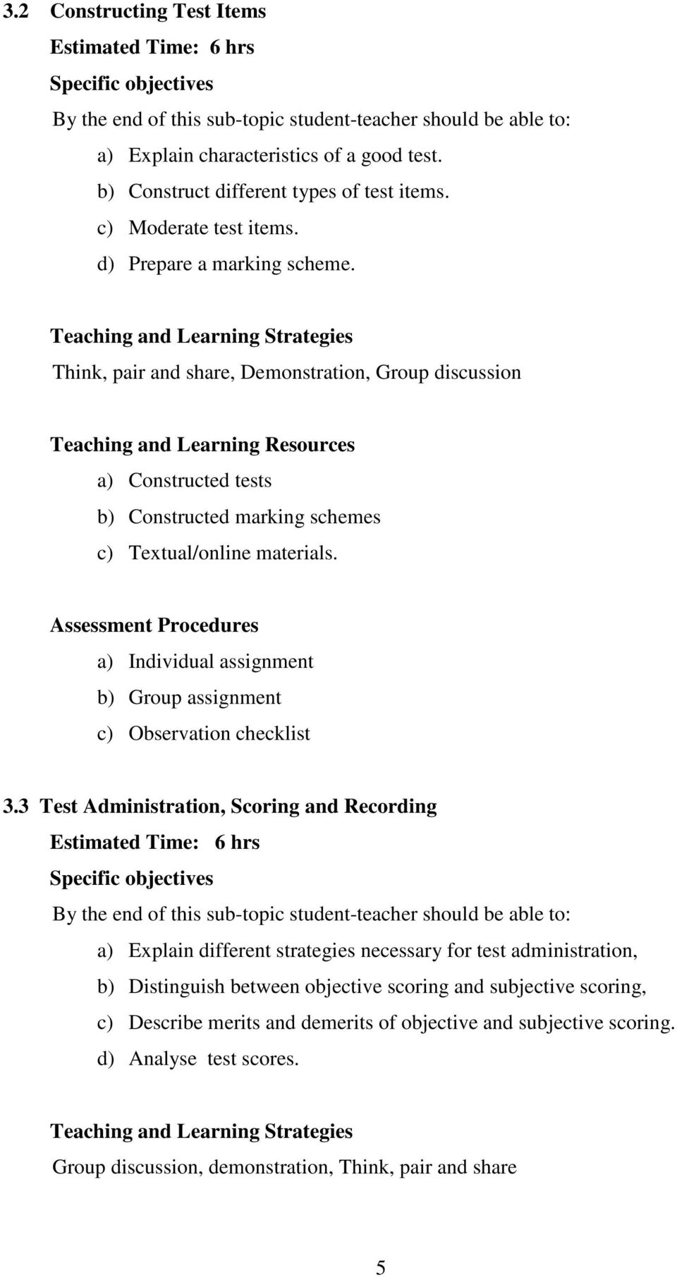 the united republic of tanzania ministry of education and a individual assignment b group assignment c observation checklist 3