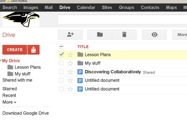 Creating Folders in Google Drive 1. From the home screen of Google Drive, click on the small folder icon in the top left-hand corner to create a new folder for your documents. 2.