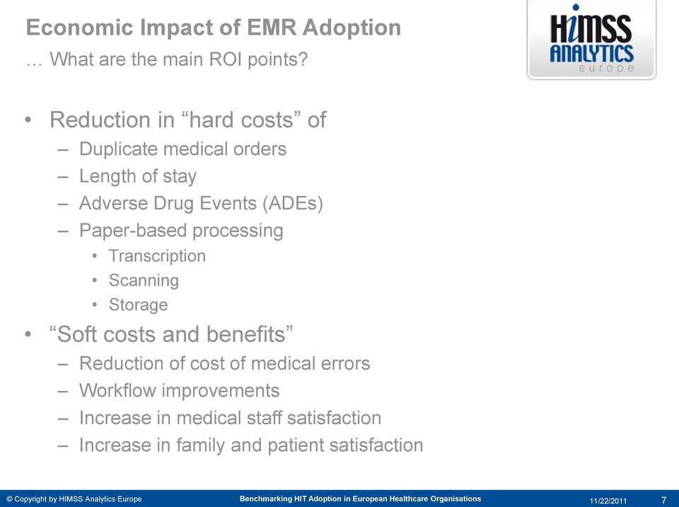 Transcription Scanning Storage Soft costs and benefits Reduction of cost of medical errors Workflow improvements Increase