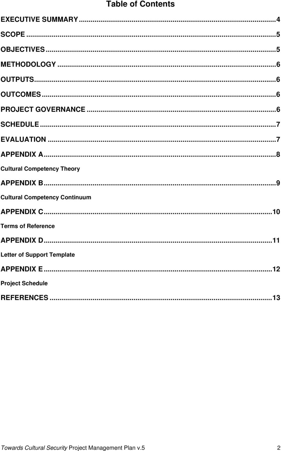 ..9 Cultural Competency Continuum APPENDIX C...10 Terms of Reference APPENDIX D.