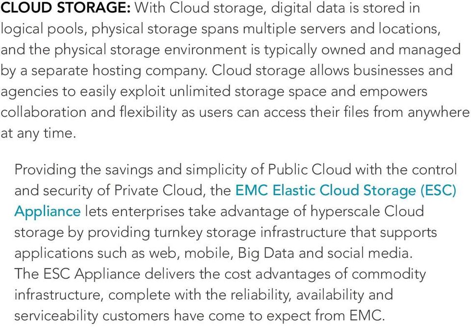 Cloud storage allows businesses and agencies to easily exploit unlimited storage space and empowers collaboration and flexibility as users can access their files from anywhere at any time.