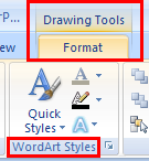Format WordArt Select the WordArt in the slide. The Drawing Tools Tab will appear at the right end of the Ribbon Tabs Click on the Format Tab. Format the selected WordArt in WordArt Styles Group.