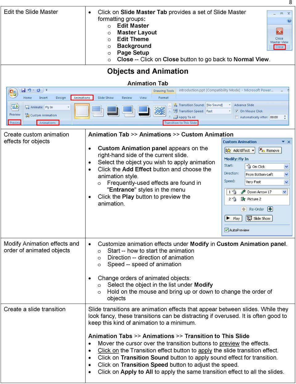 Objects and Animation Animation Tab 8 Create custom animation effects for objects Animation Tab >> Animations >> Custom Animation Custom Animation panel appears on the right-hand side of the current