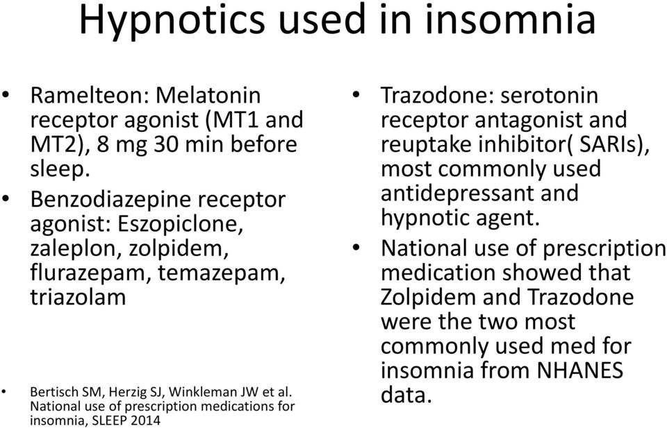 National use of prescription medications for insomnia, SLEEP 2014 Trazodone: serotonin receptor antagonist and reuptake inhibitor( SARIs), most