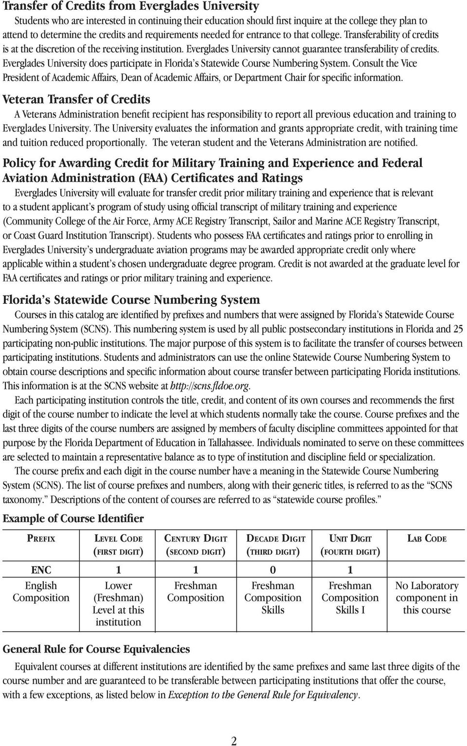 Everglades University does participate in Florida s Statewide Course Numbering System.