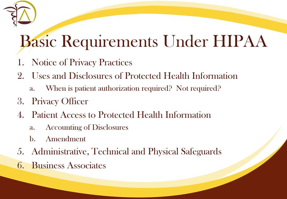 When is patient authorization required? Not required? 3. Privacy Officer 4.