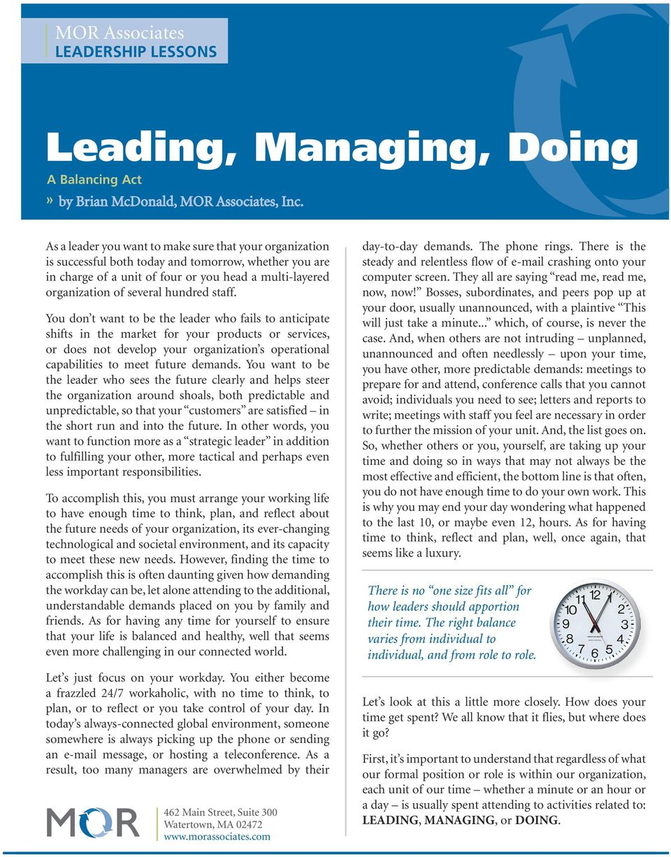 """leading and managing for the future in an organization """"leading people you don't manage"""" middle management series  organization as well as by their peers  managing functions leadership functions."""