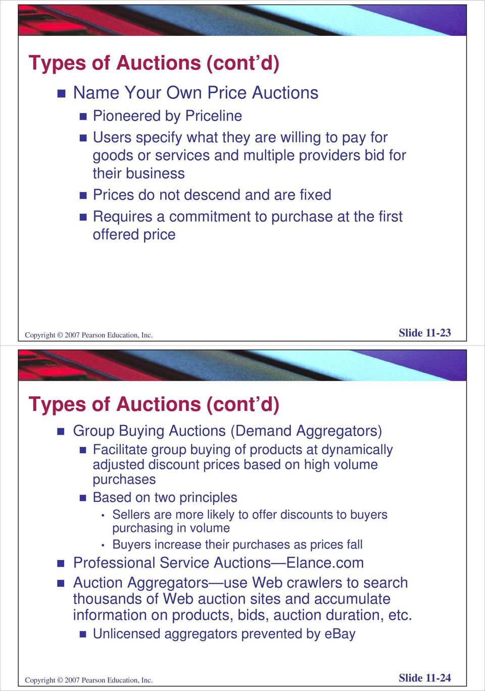 Slide 11-23 Types of Auctions (cont d) Group Buying Auctions (Demand Aggregators) Facilitate group buying of products at dynamically adjusted discount prices based on high volume purchases Based on