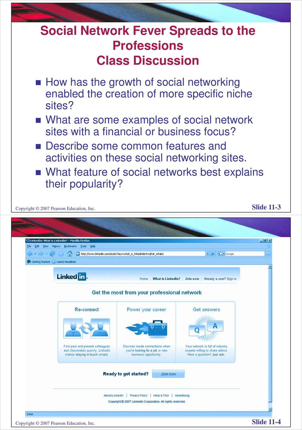 Describe some common features and activities on these social networking sites.