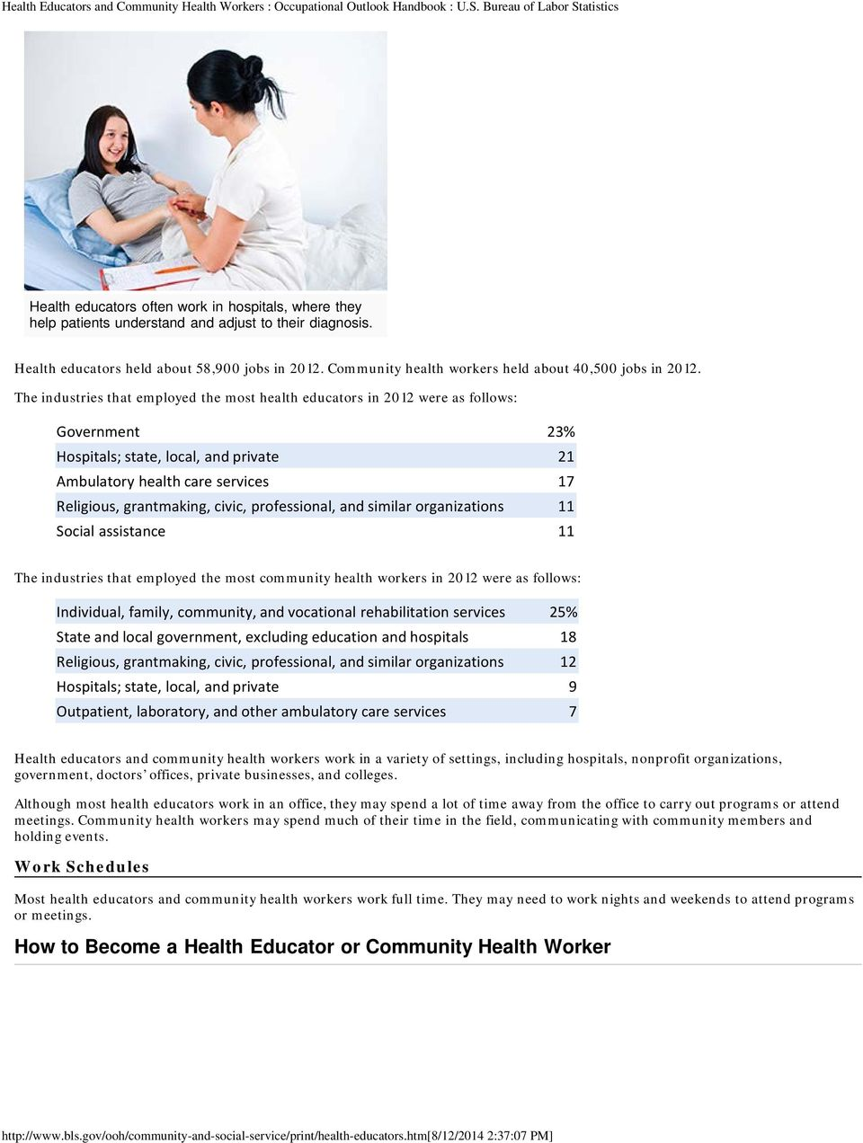 The industries that employed the most health educators in 2012 were as follows: Government 23% Hospitals; state, local, and private 21 Ambulatory health care services 17 Religious, grantmaking,
