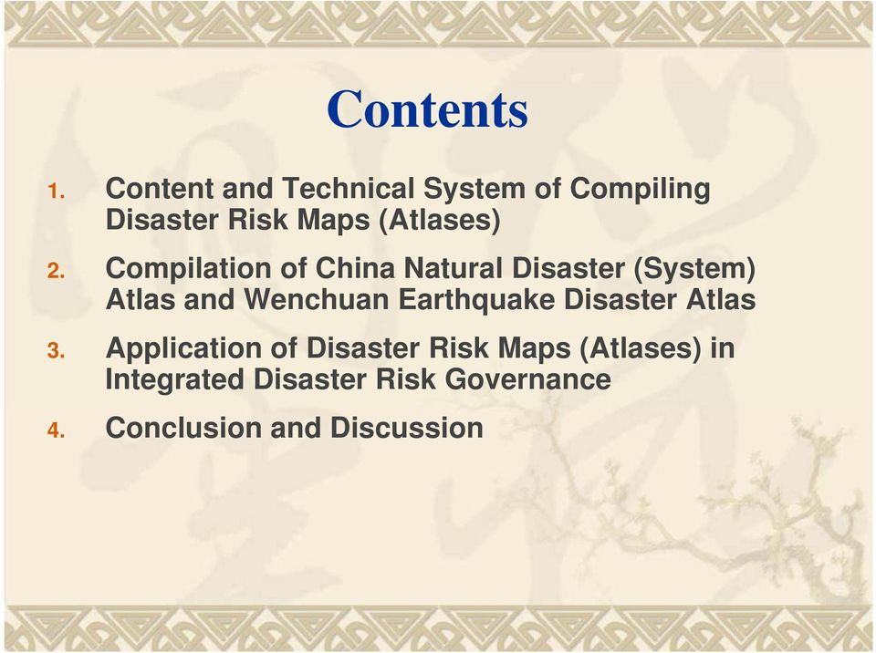 Compilation of China Natural Disaster (System) Atlas and Wenchuan