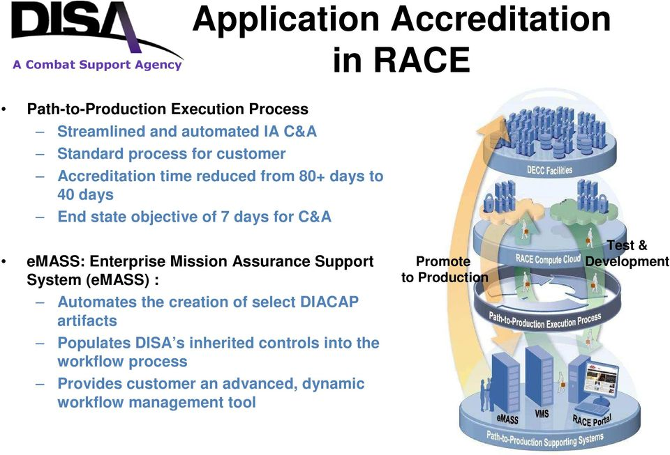 Enterprise Mission Assurance Support System (emass) : Automates the creation of select DIACAP artifacts Populates DISA s inherited