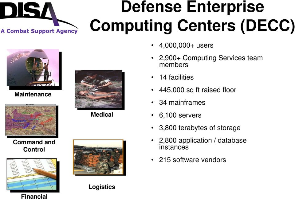445,000 sq ft raised floor 34 mainframes 6,100 servers 3,800 terabytes of