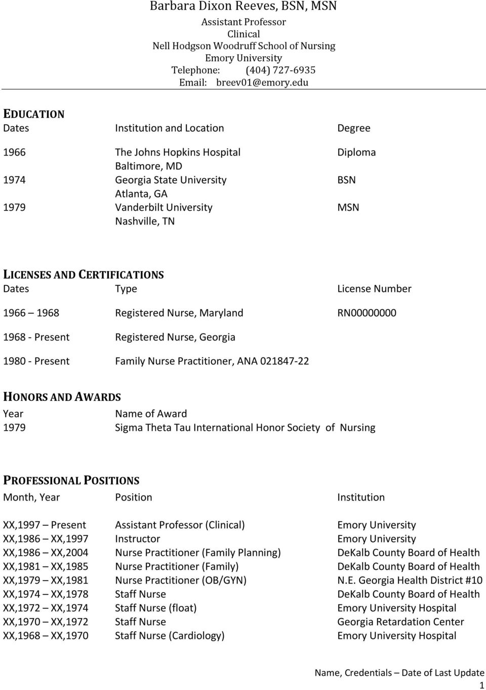 LICENSES AND CERTIFICATIONS Dates Type License Number 1966 1968 1968 - Present Registered Nurse, Maryland Registered Nurse, Georgia RN00000000 1980 - Present Family Nurse Practitioner, ANA 021847-22