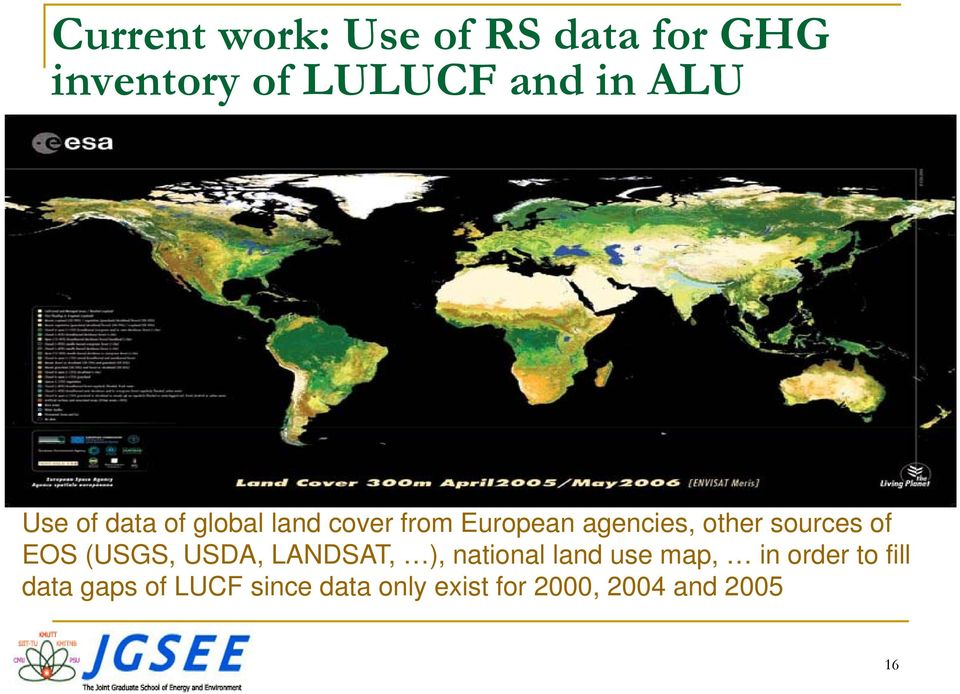 sources of EOS (USGS, USDA, LANDSAT, ), national land use map, in