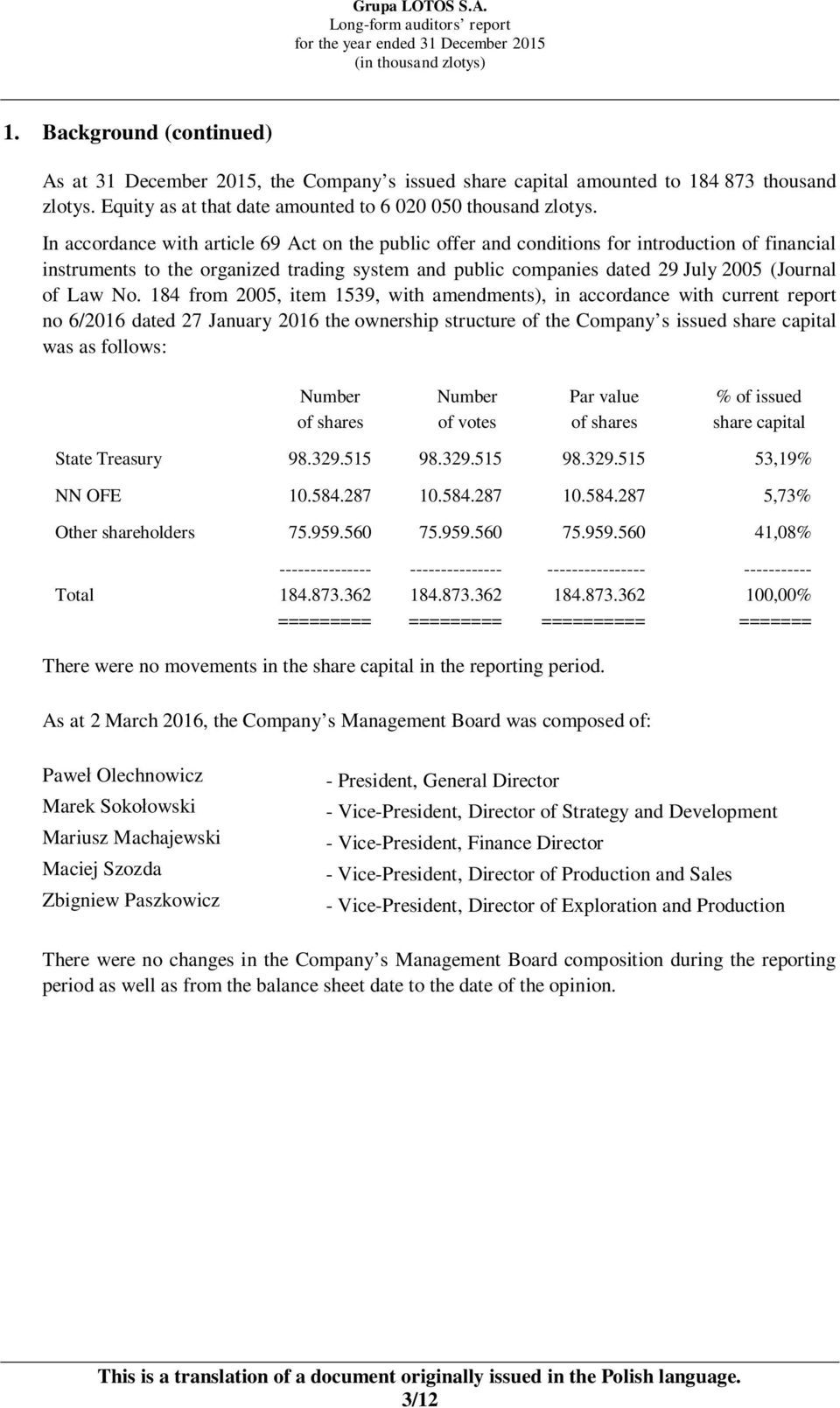 No. 184 from 2005, item 1539, with amendments), in accordance with current report no 6/2016 dated 27 January 2016 the ownership structure of the Company s issued share capital was as follows: Number