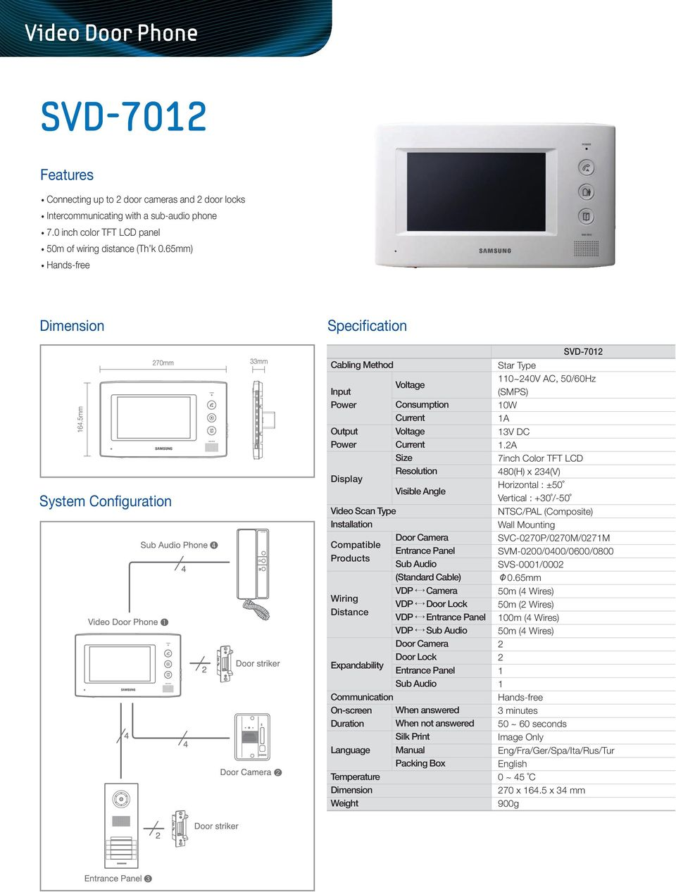Camera VDP Door Lock VDP VDP Sub Audio Door Lock Sub Audio Communication On-screen When answered Duration When not answered Silk Print Language Manual Packing Box SVD-70 Star Type 0~40V AC, 50/60Hz