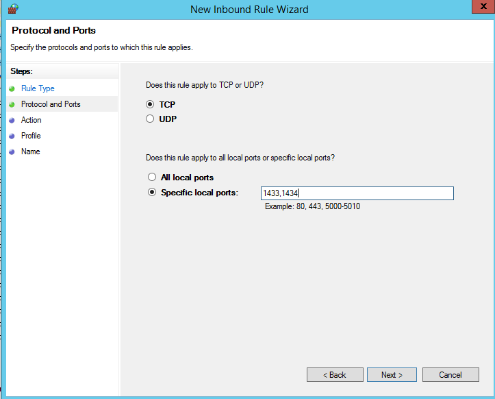 14) Select the option for Port and select the SQL Option.