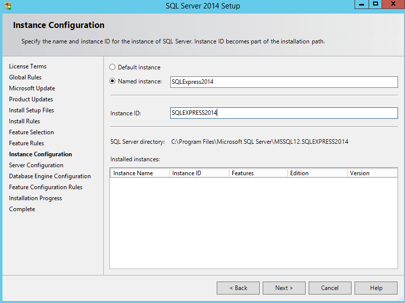 6) In the Instance Configuration Screen a name will need to be given to the new SQL Server Express Server.