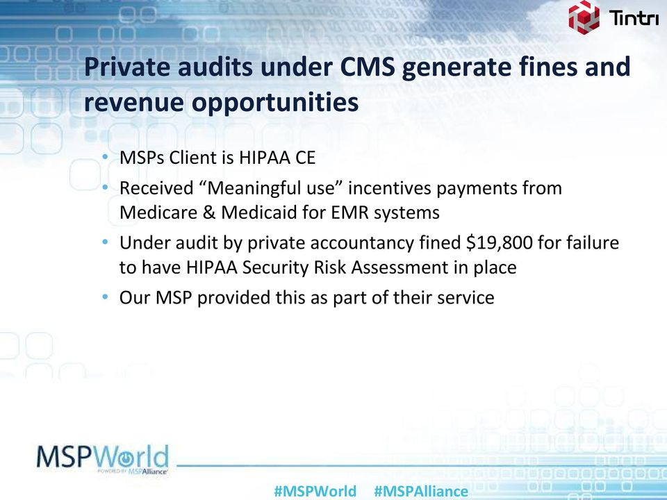 EMR systems Under audit by private accountancy fined $19,800 for failure to have