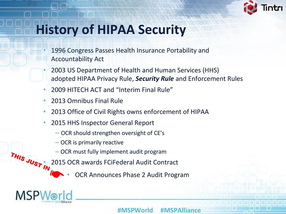 Final Rule 2013 Office of Civil Rights owns enforcement of HIPAA 2015 HHS Inspector General Report OCR should strengthen oversight of CE s