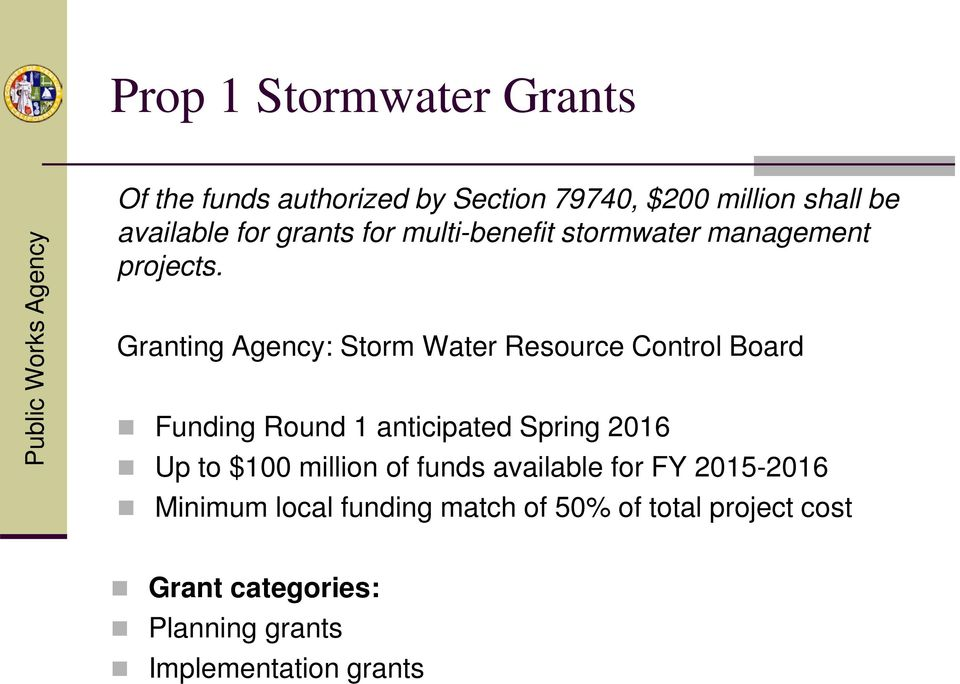 Granting Agency: Storm Water Resource Control Board Funding Round 1 anticipated Spring 2016 Up to $100