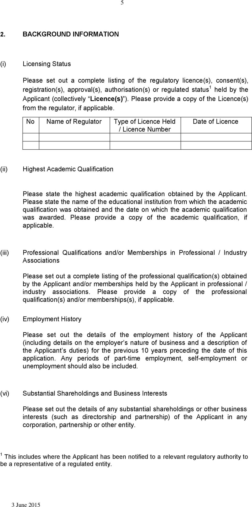 No Name of Regulator Type of Licence Held / Licence Number Date of Licence (ii) Highest Academic Qualification Please state the highest academic qualification obtained by the Applicant.