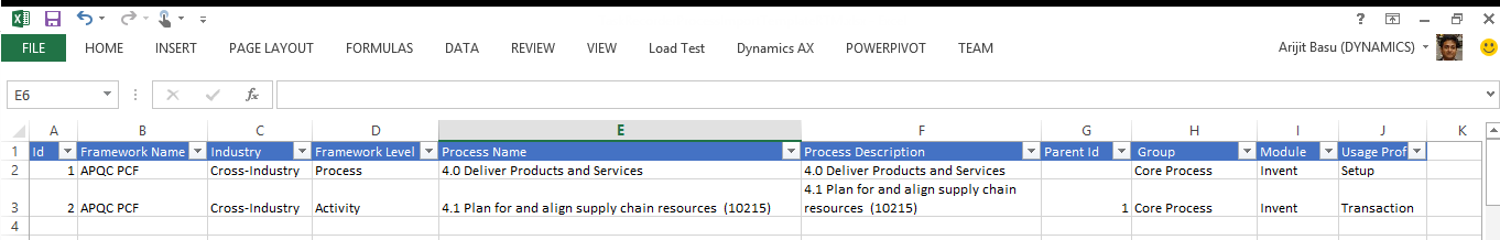 Upload business process data by using Excel 1. Save the Excel template that is included in the Task recorder hotfix.