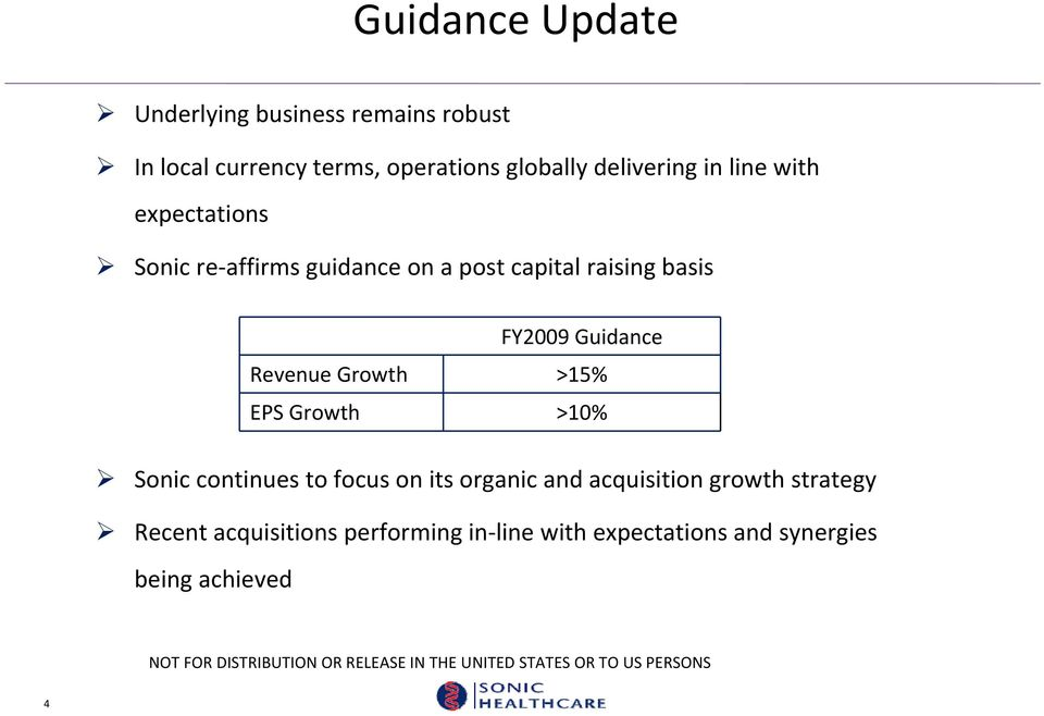 FY2009 Guidance Revenue Growth >15% EPS Growth >10% Sonic continues to focus on its organic and
