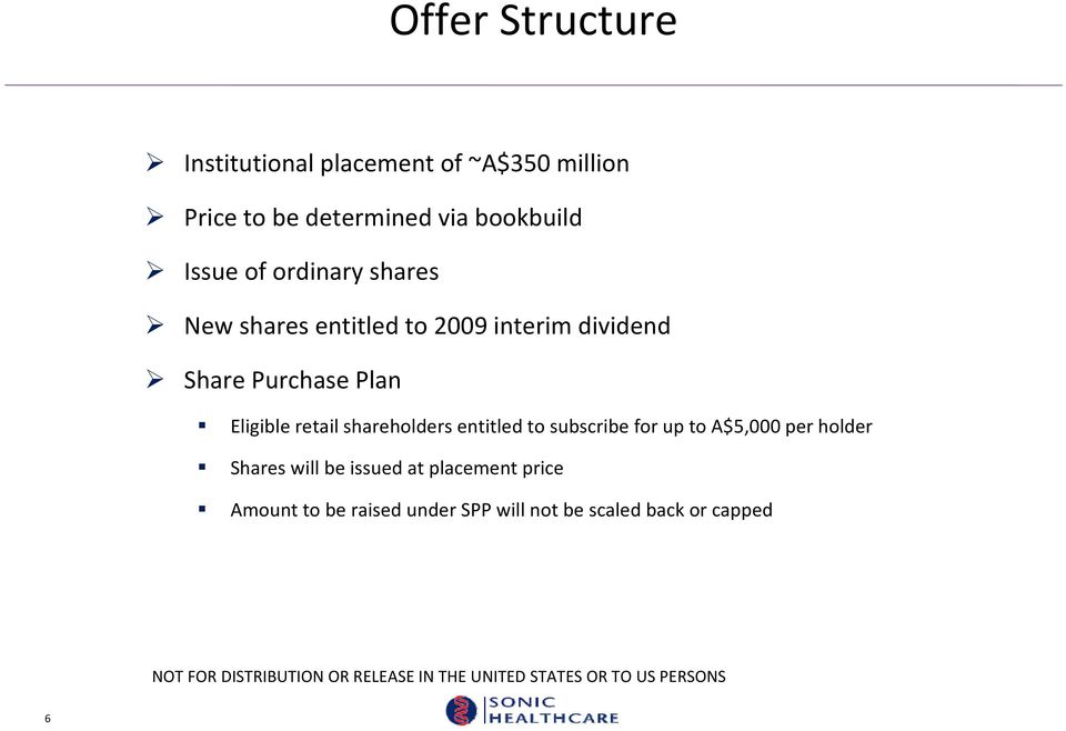 Purchase Plan Eligible retail shareholders entitled to subscribe for up to A$5,000 per