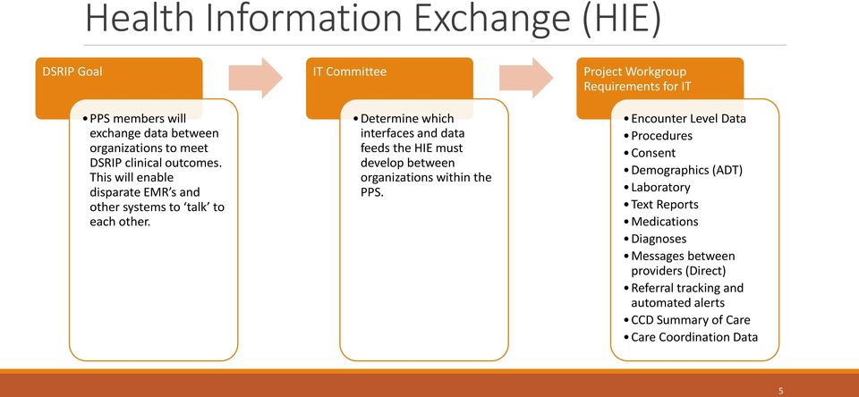 IT Committee Determine which interfaces and data feeds the HIE must develop between organizations within the PPS.
