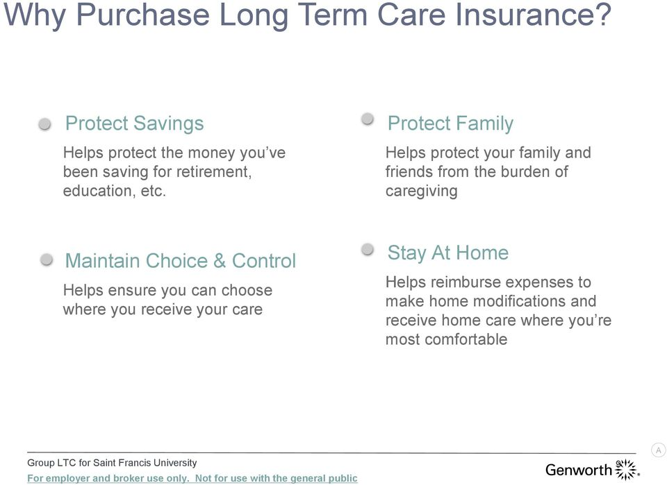Protect Family Helps protect your family and friends from the burden of caregiving Maintain Choice & Control Helps ensure