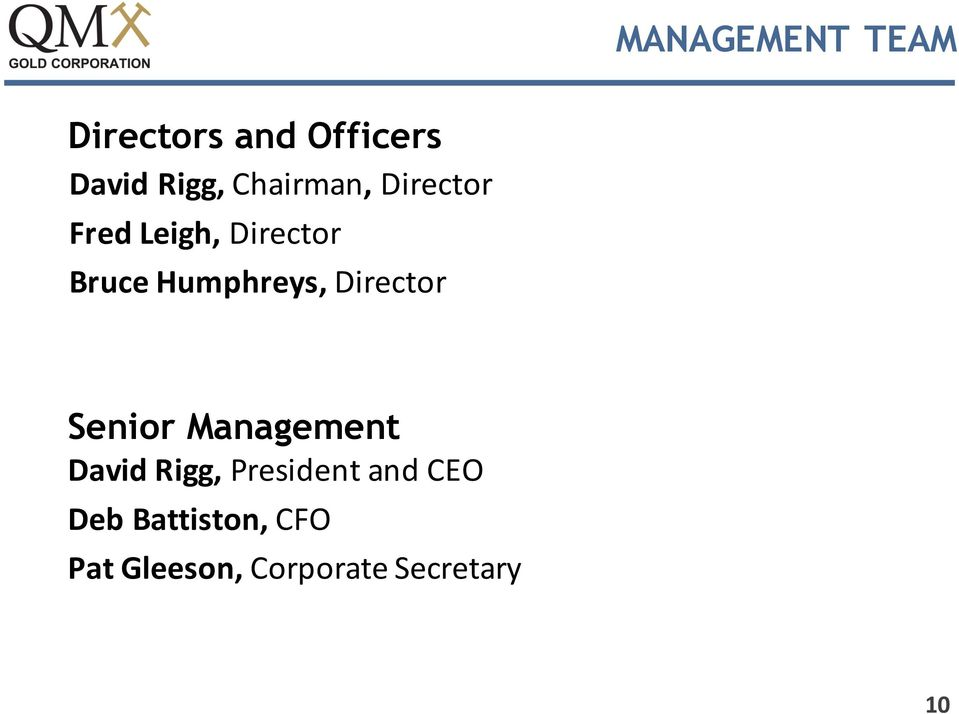 Humphreys, Director Senior Management David Rigg,