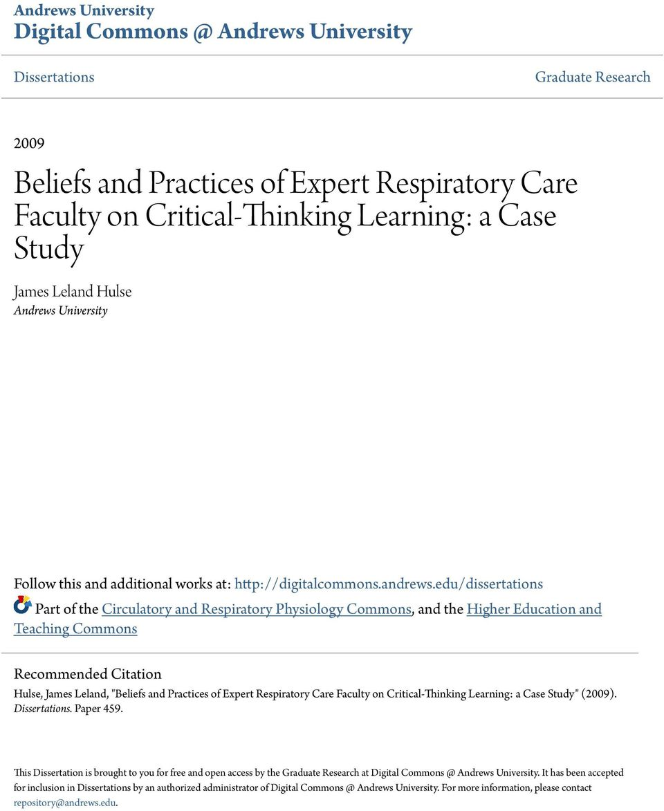 critical thinking in respiratory care practice