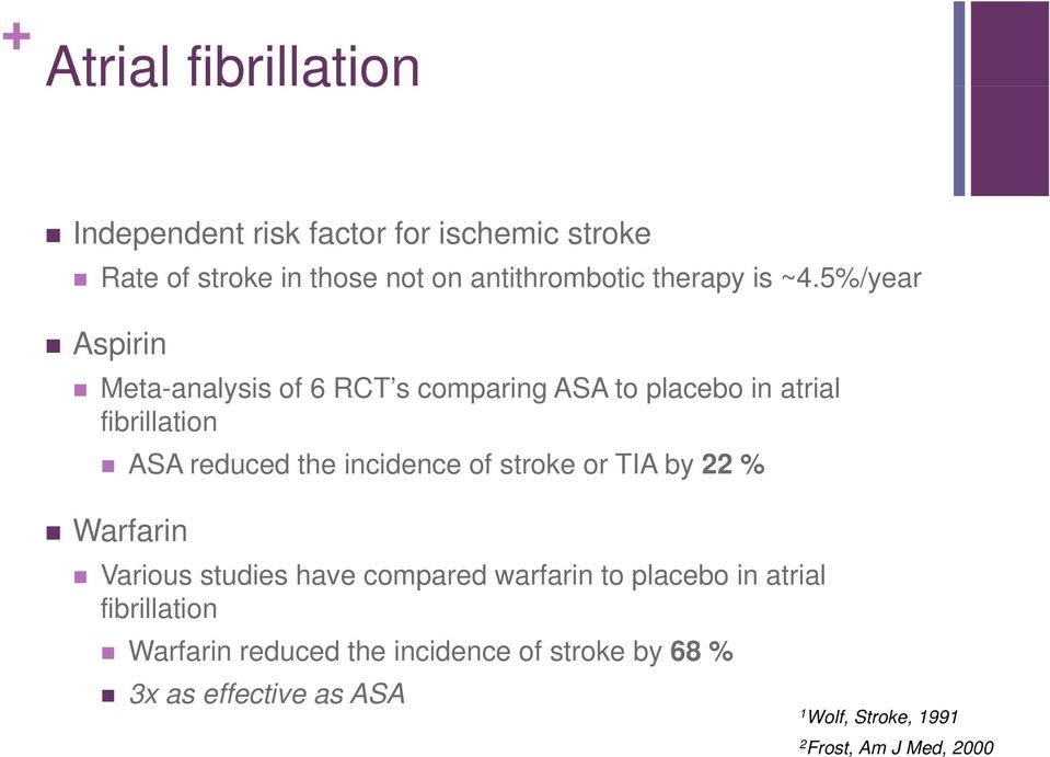 5%/year Aspirin Meta-analysis of 6 RCT s comparing ASA to placebo in atrial fibrillation ASA reduced the incidence