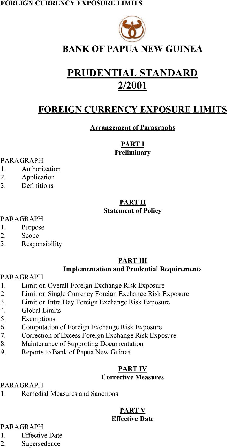 Limit on Single Currency Foreign Exchange Risk Exposure 3. Limit on Intra Day Foreign Exchange Risk Exposure 4. Global Limits 5. Exemptions 6. Computation of Foreign Exchange Risk Exposure 7.