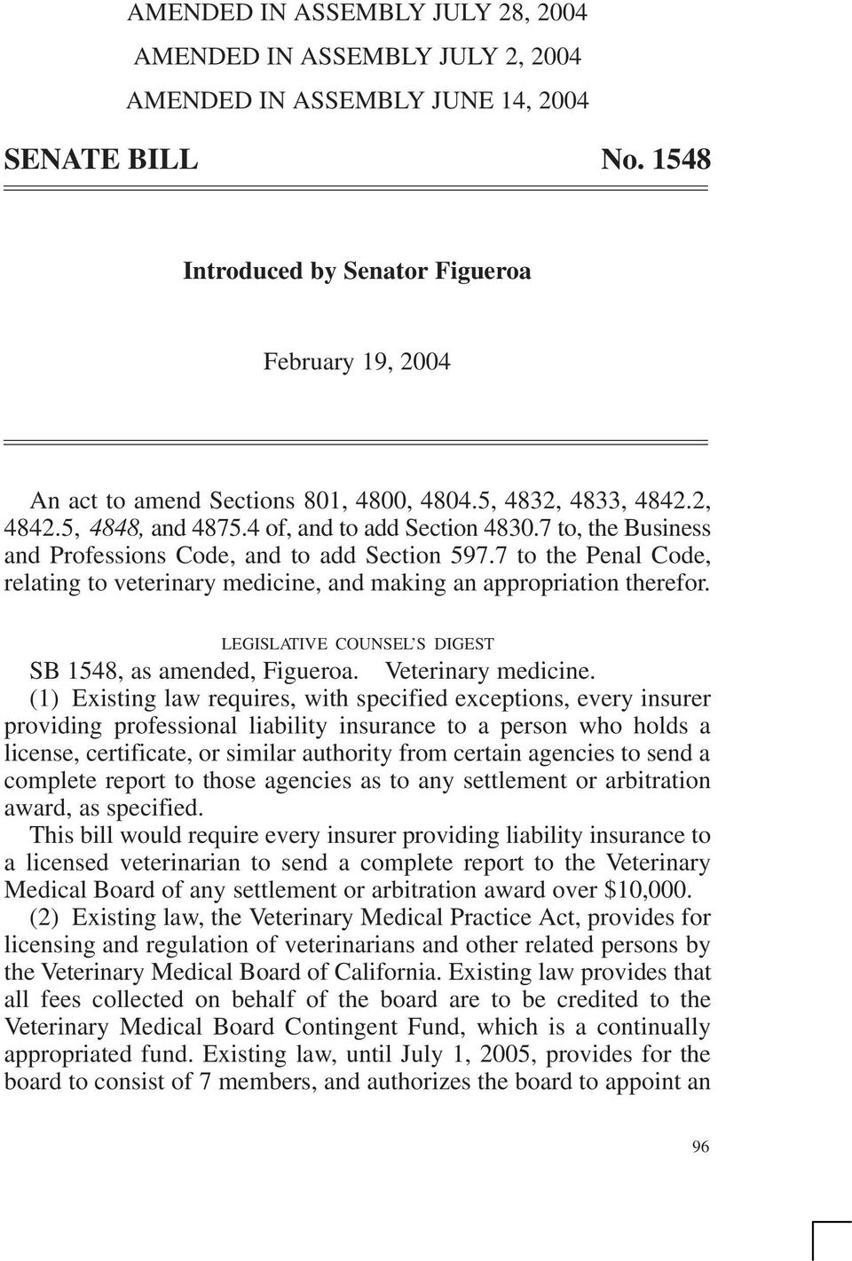 LEGISLATIVE COUNSEL S DIGEST SB, as amended, Figueroa. Veterinary medicine.