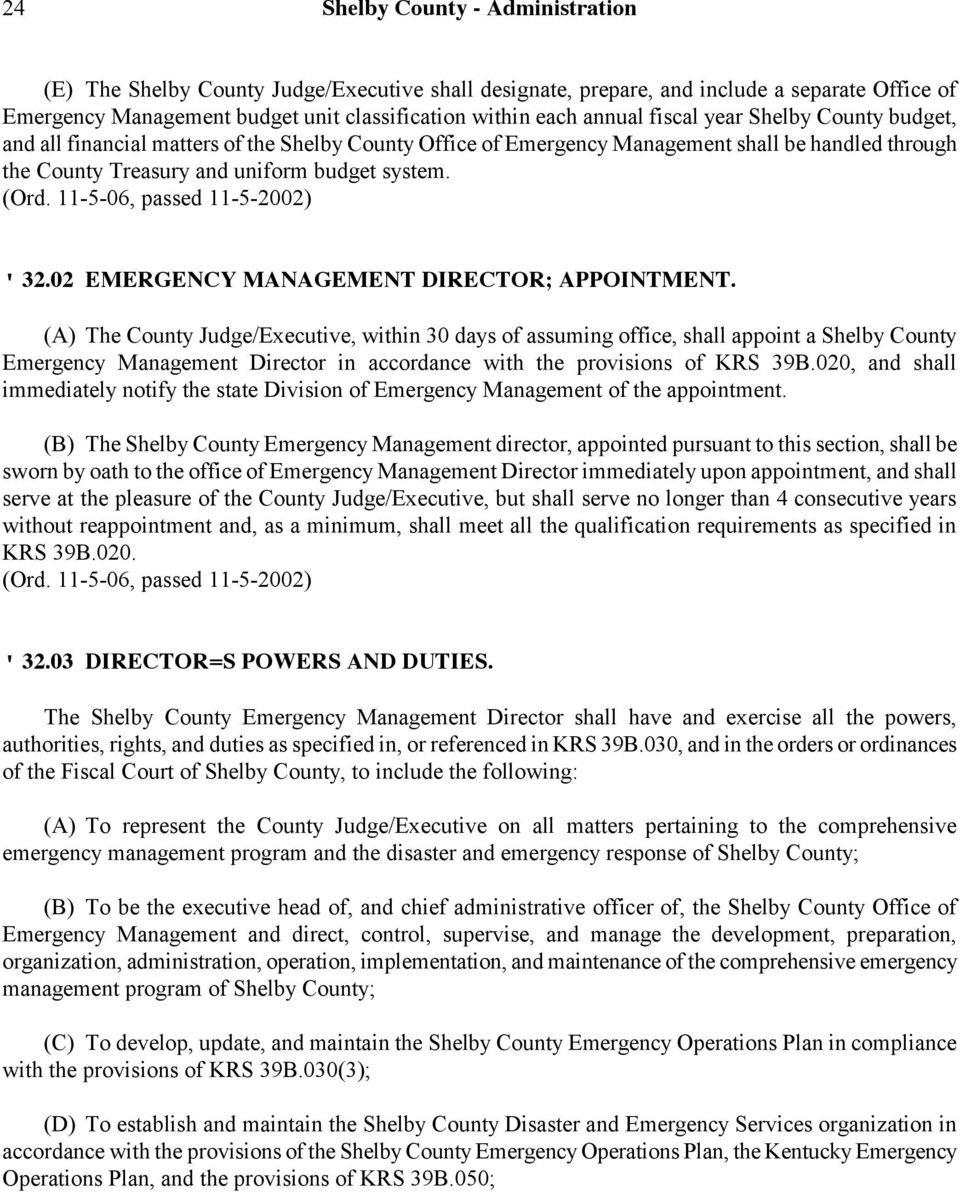 02 EMERGENCY MANAGEMENT DIRECTOR; APPOINTMENT.