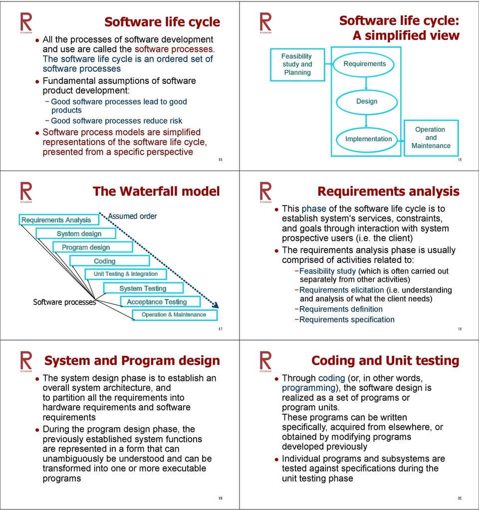 Good software processes reduce risk Design Software process models are simplified representations of the software life cycle, presented from a specific perspective Implementation Requirements