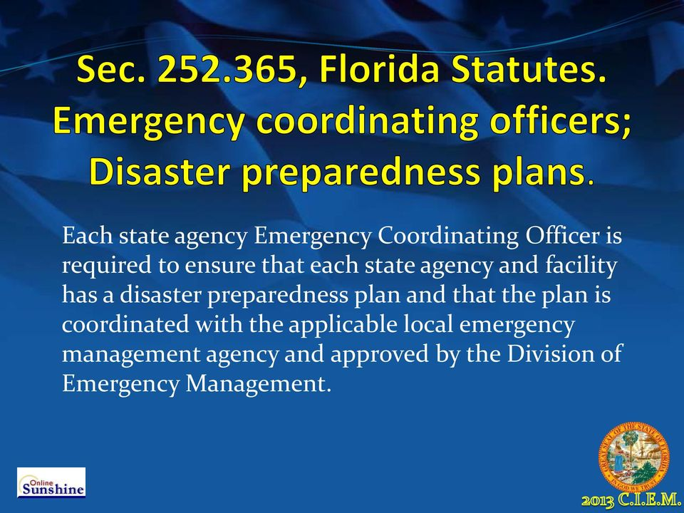 preparedness plan and that the plan is coordinated with the