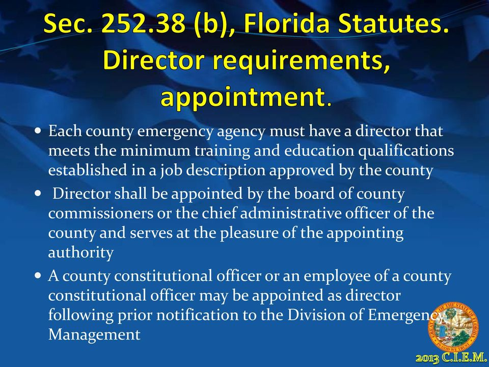 administrative officer of the county and serves at the pleasure of the appointing authority A county constitutional officer or